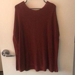 Burnt Orange Poncho Sweater